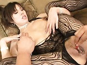 Mei Amazaki shows her pussy lips and tight puckered asshole