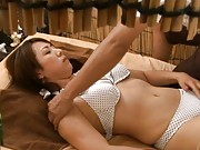 Japanese AV Model gets a back rub and enjoys the strong hands