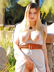 Danielle busty and flashing pussy outside