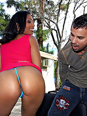 Amazing hot ass ebony babe nailed hard in these outdoor doggy style fuck pics