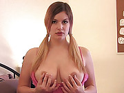 Danielle plays with her tits