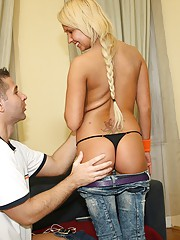 A blonde teenager screwing a big stiff pecker