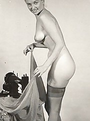 Vintage blonde girls posing naked in fifties
