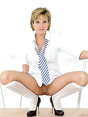 Pantyhose school girl uniform milf