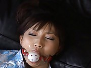 Akari Satsuki Sexy teen is tied and gagged while masturbating