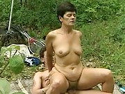 Granny enjoys fucking outdoors