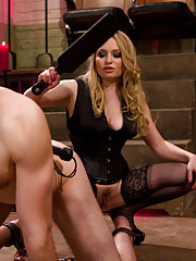 Aiden Starr whips, punishes, strap-on fucks and milks new slaveboy.