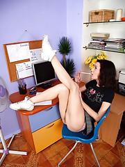 Horny teenage schoolgirl fondles her snatch