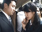 Japanese AV Model jerks a cock in public where anyone can see