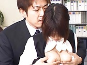 Japanese AV Model´s big tits are pulled out of her shirt