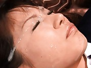 Kokomi Naruse facialised and fucked real hard by a huge cock