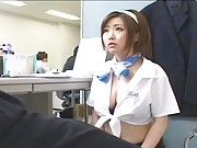 Rio Hamasaki begins to give a handjob to her boss to please him