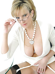 Deep cleavage nylons trophy wife