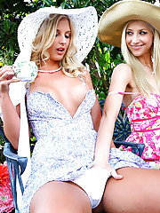 3 super hot mini skirt lesbians get horny outdoors in this tea party 3some lesbian hoy pussy licking dildo ass fucking pic set