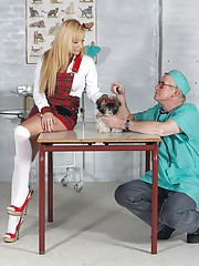 Horny old doctor shagging a willing patient