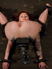 Misti Dawn in a pile driver, takes the cane. Chained to a sybian for unstoppable orgasms. Legs spread endures hot/cool ointment on nipples and pussy.