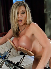 Voluptuous MILF, Sara Jay, machine fucked, EE tits machine paddled, double vag fucking that has her screaming, and a squirting orgasm in pile driver!