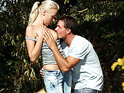 Hot teenage blonde banged in her own backyard
