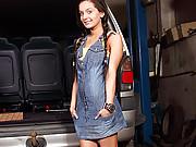 Girl enjoys stroking herself in her own car