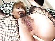 Aya Sakaki´s asshole is penetrated with a long tickling toy