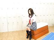 Kana Miura sitting in a school uniform is graped