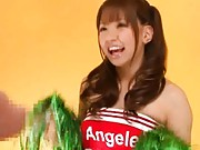 Buruma Aoi wears a cheerleader costume then pulls out her tits
