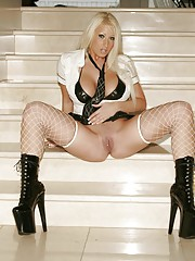Candy Mason so sexy in black vinyl fishnets and boots