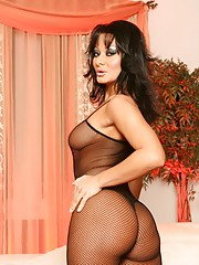 Sandra Romain so sexy in her fishnet bodystocking