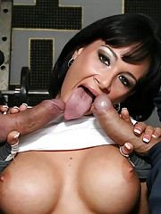 Tory Lane has her holes filled by two cocks