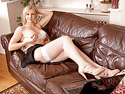 Leggy blonde Tonya plays with her warm moist pussy at Anilos