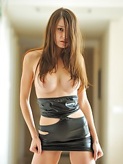 Anessa in a tight leather dress and no panties