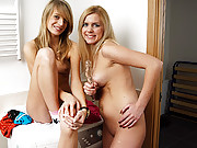 Two hot horny lesbians playing with one dildo