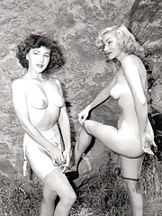 Hot vintage chicks naked outdoors in fifties