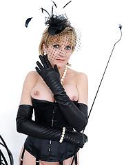 Fur and lingerie classy dominatrix