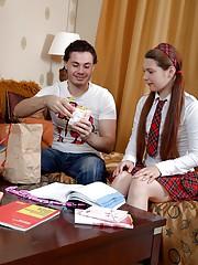Horny student fucks a willing sexy schoolgirl