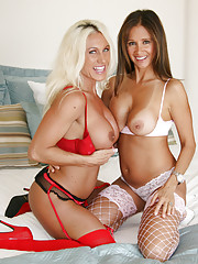 HotWifeRio and her hot friend Ashley pose in the sexy stockings and heels