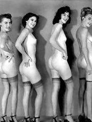Beautiful vintage bottoms posing in fifties