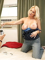 Hot big tits milf nailed hard in a bed of poker cards after a game of strip poker hot pics
