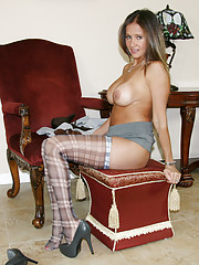 HotWifeRio poses in her sexy plaid stockings and jerks off a big cock