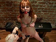 Lorelei takes advantage of innocent redhead. Marie is made to lick pussy and face fuck Krysta Lorelei fucks girl wearing electric nipple clamps.