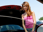 Sexy long leg mini skirt latina gets picked up on the road at her broken down car hot fucking reality cumfaced vids