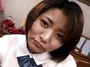 Japanese schoolgirl sucks on a tiny pecker