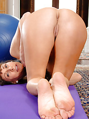 Alexandra Silk gets hot after her workout and strips to expose her tits and pussy