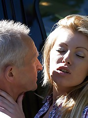 Car cleaning hottie fucks a very horny senior