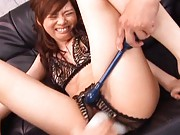 Keito Miyazawa in sexy lingerie gets a vibrating dildo in pussy