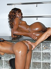 Ebony babe uni and her sexy girl get all lubbed up for some amazing threesome pussy penetration pics
