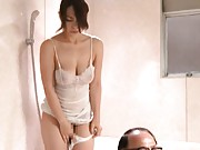 Reiko Nakamori Hot chick in white lingerie bathing an old man