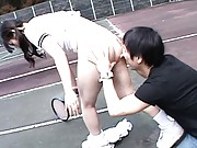 Japanese AV Model plays tennis naughty guy sees her pussy pose