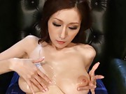 Julia Model is fondling her lube and cum covered big tits