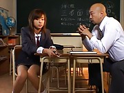 Nao was bad at school and the teacher fucks her cunt with sex toy